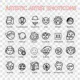 Icono artístico de la sonrisa del emoji del vector del artista del Emoticon fijado para la web ilustración del vector
