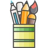 Icono artístico y de la afición simple del vectorde FlatPote con los marcadores, los lápices y los cepillos para dibujar y pin Imagen de archivo