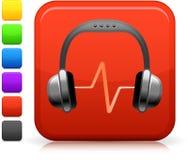 Icono audio de los auriculares en el botón cuadrado del Internet Imagenes de archivo