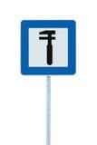 Icono auto del taller de reparaciones del coche, señalización de los posts de poste del borde de la carretera de la muestra del t Foto de archivo