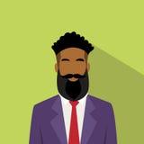 Icono Avatar masculino étnico afroamericano del perfil del hombre de negocios stock de ilustración