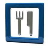 Icono azul 3d del alimento/del restaurante Imagen de archivo libre de regalías