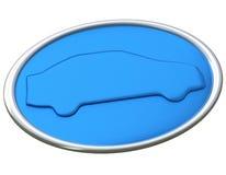 Icono azul 3d del coche Fotos de archivo libres de regalías