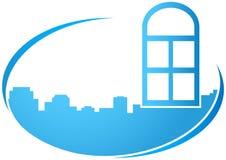 Icono azul con la ventana libre illustration