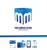 Icono azul 3d del logotipo del cubo de la letra M del alfabeto Fotografía de archivo libre de regalías