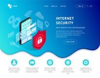 Icono azul de aterrizaje del smartphone de la página de la protección de datos stock de ilustración