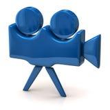 Icono azul de la cámara de película Fotos de archivo