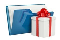 Icono azul de la carpeta del ordenador con el regalo, representación 3D Fotos de archivo libres de regalías