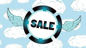 Icono azul de la venta en nubes ilustración del vector
