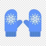 Icono azul de los guantes del invierno, estilo plano libre illustration