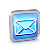 Icono azul del botón del correo electrónico Imagenes de archivo