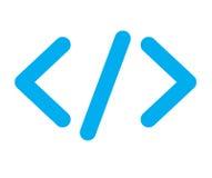 Icono azul del código Fotografía de archivo libre de regalías
