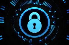 Icono azul del candado en el espacio de la tecnología Imagen de archivo libre de regalías