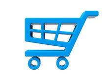 Icono azul del carro de la compra Foto de archivo libre de regalías