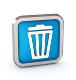 Icono azul del cubo de la basura Foto de archivo