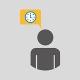 icono azul del diseño del tiempo del reloj de reloj del hombre de la silueta ilustración del vector