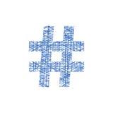 Icono azul del hashtag en estilo del bosquejo Foto de archivo libre de regalías