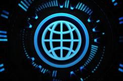 Icono azul del mundo en el espacio de la tecnología Imágenes de archivo libres de regalías