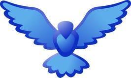 Icono azul del pájaro stock de ilustración