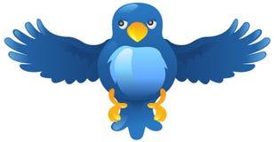 Icono azul del pájaro del ing del gorjeo Imagen de archivo libre de regalías