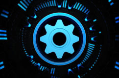 Icono azul del trabajo en equipo en el espacio de la tecnología Fotos de archivo libres de regalías