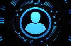 Icono azul del usuario en el espacio de la tecnología Fotografía de archivo libre de regalías