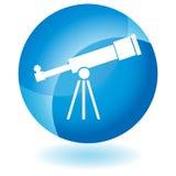 Icono azul - telescopio Foto de archivo