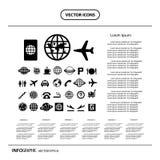 Icono básico fijado para el aeropuerto Foto de archivo libre de regalías