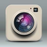 Icono blanco de la cámara de la foto Imagen de archivo