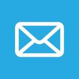Icono blanco del botón del correo electrónico Fotografía de archivo libre de regalías