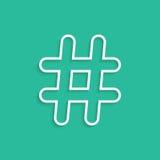 Icono blanco del hashtag aislado en fondo verde Imágenes de archivo libres de regalías