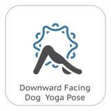 Icono boca abajo de la actitud del perro de la yoga Ejemplo aislado diseño plano fotografía de archivo libre de regalías