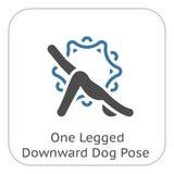 Icono boca abajo de la actitud del perro de la yoga Ejemplo aislado diseño plano imagenes de archivo