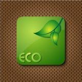 Icono/botón verdes de la insignia de Eco Fotos de archivo libres de regalías