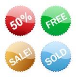 Icono brillante del botón de las ventas Foto de archivo libre de regalías