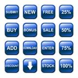 Icono brillante del botón del vector, azul Foto de archivo libre de regalías