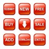 Icono brillante del botón del vector, rojo Foto de archivo libre de regalías