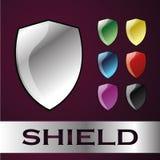Icono brillante del escudo de la protección del metal imágenes de archivo libres de regalías