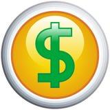 Icono brillante del vector de la muestra de dólar Fotografía de archivo