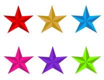 Icono brillante determinado de la estrella en el fondo blanco Estilo plano rojo, oro, azul, rojo, oro, azul, verde del UFO, rosa  stock de ilustración