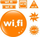 Icono brillante determinado del botón de los Wi Fi Fotografía de archivo