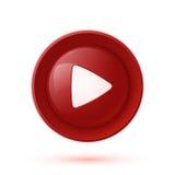 Icono brillante rojo del botón de reproducción stock de ilustración