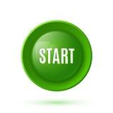 Icono brillante verde de la tecla de partida Imagen de archivo libre de regalías