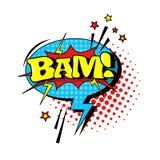 Icono cómico de Art Style Bam Expression Text del estallido de la burbuja de la charla del discurso Foto de archivo libre de regalías