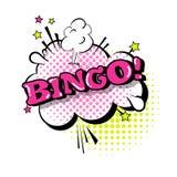 Icono cómico de Art Style Bingo Expression Text del estallido de la burbuja de la charla del discurso Foto de archivo libre de regalías