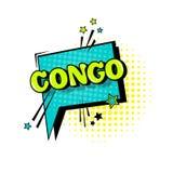 Icono cómico de Art Style Congo Expression Text del estallido de la burbuja de la charla del discurso Fotos de archivo