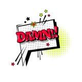 Icono cómico de Art Style Damn Expression Text del estallido de la burbuja de la charla del discurso Foto de archivo libre de regalías