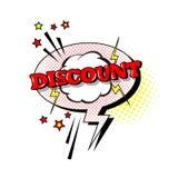 Icono cómico de Art Style Discount Expression Text del estallido de la burbuja de la charla del discurso Foto de archivo