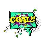 Icono cómico de Art Style Goal Expression Text del estallido de la burbuja de la charla del discurso Fotografía de archivo
