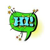 Icono cómico de Art Style Hi Expression Text del estallido de la burbuja de la charla del discurso Fotos de archivo libres de regalías